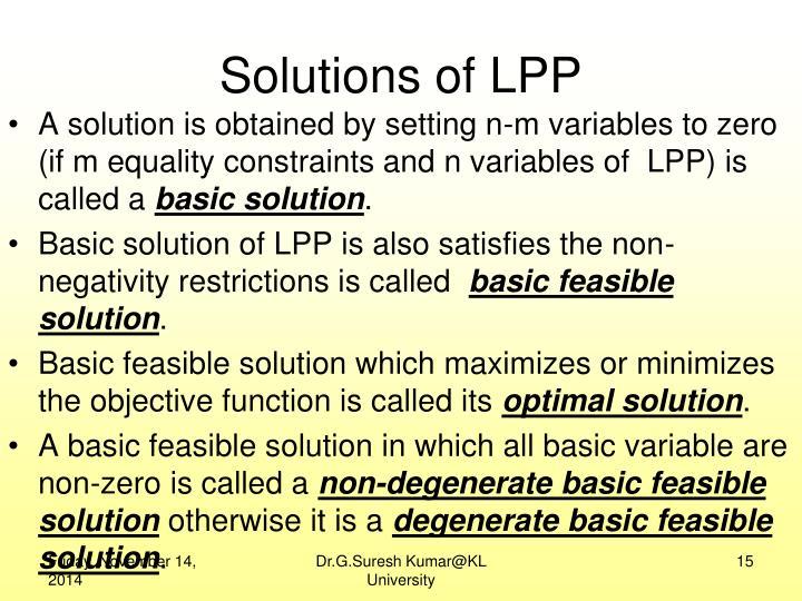 Solutions of LPP