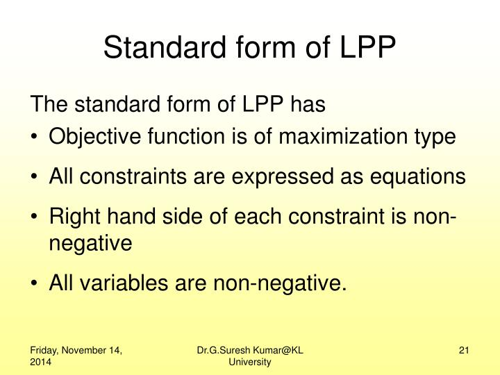 Standard form of LPP
