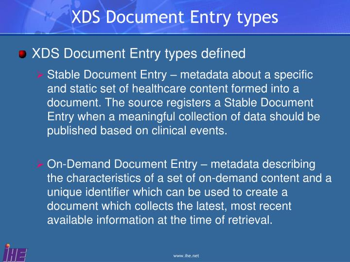 XDS Document Entry types