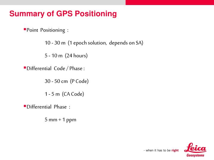 Summary of GPS Positioning