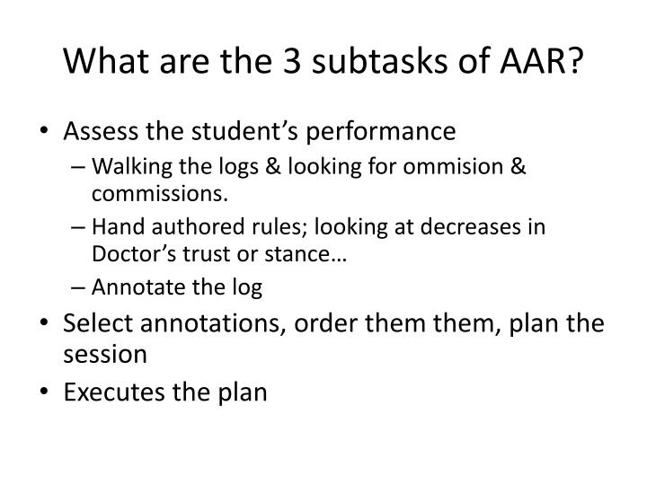 What are the 3 subtasks of AAR?