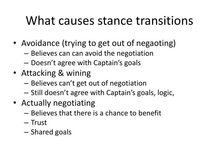 What causes stance transitions