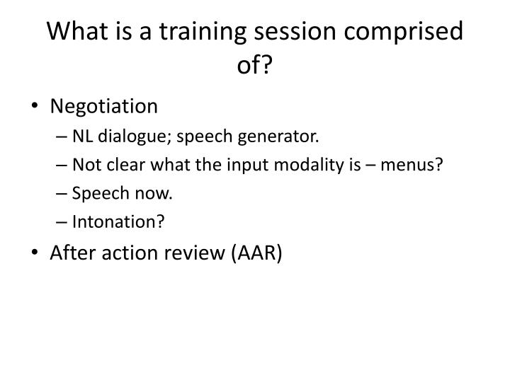 What is a training session comprised of?