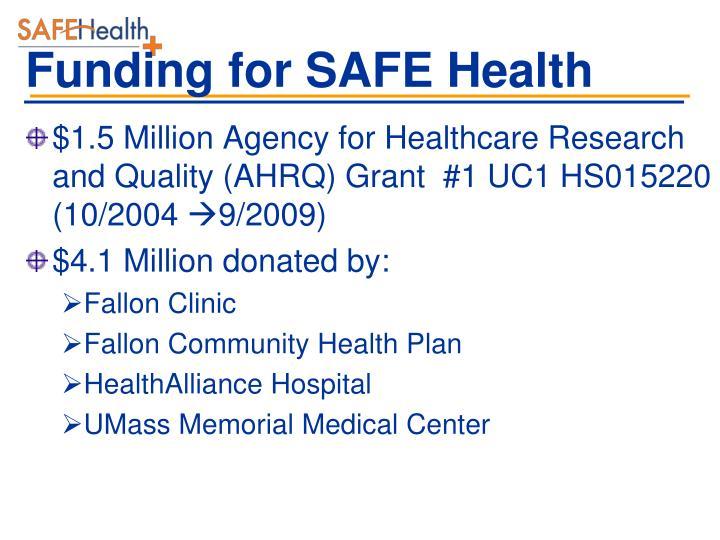 Funding for SAFE Health