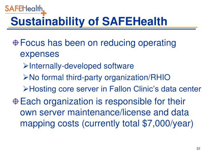 Sustainability of SAFEHealth
