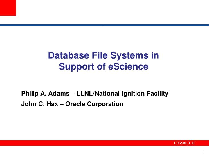 Database File Systems in Support of eScience