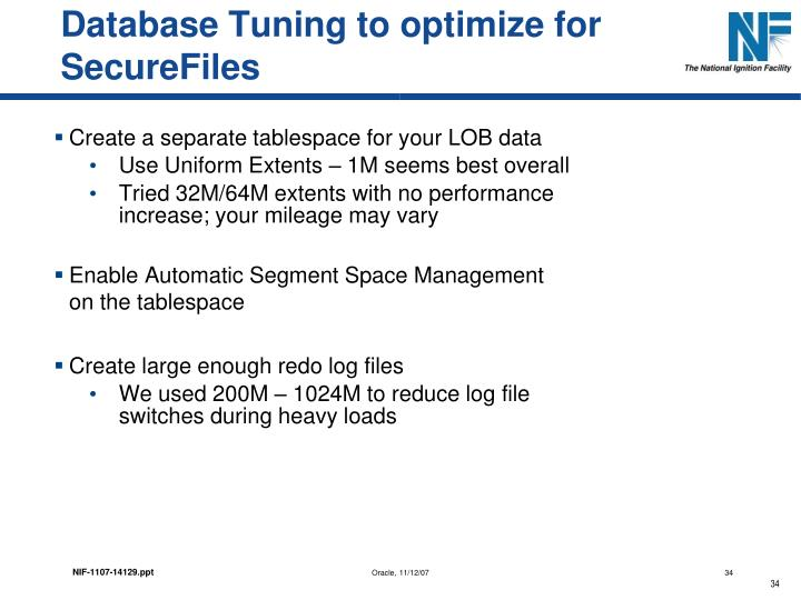 Database Tuning to optimize for SecureFiles