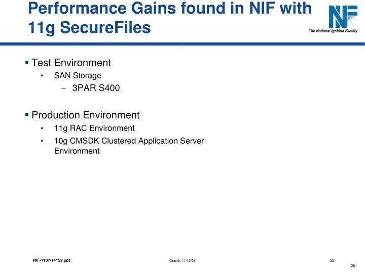 Performance Gains found in NIF with 11g SecureFiles