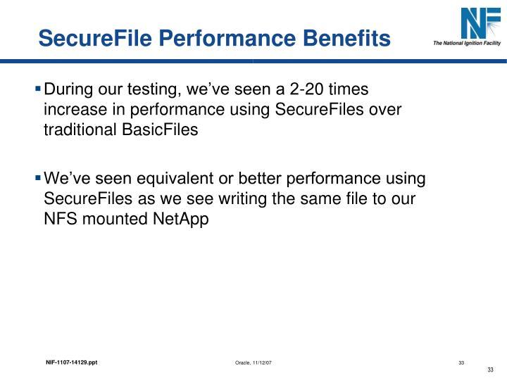 SecureFile Performance Benefits