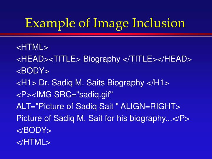 Example of Image Inclusion