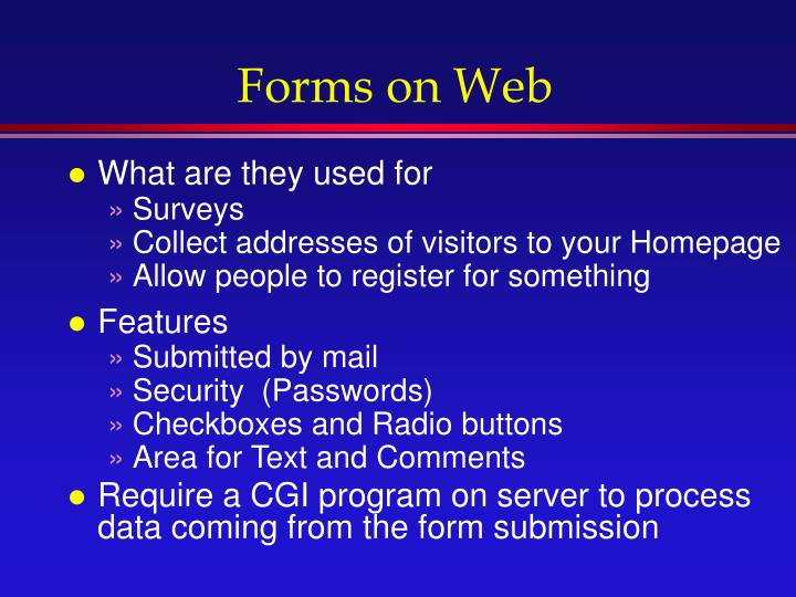 Forms on Web