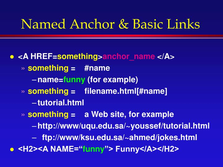 Named Anchor & Basic Links
