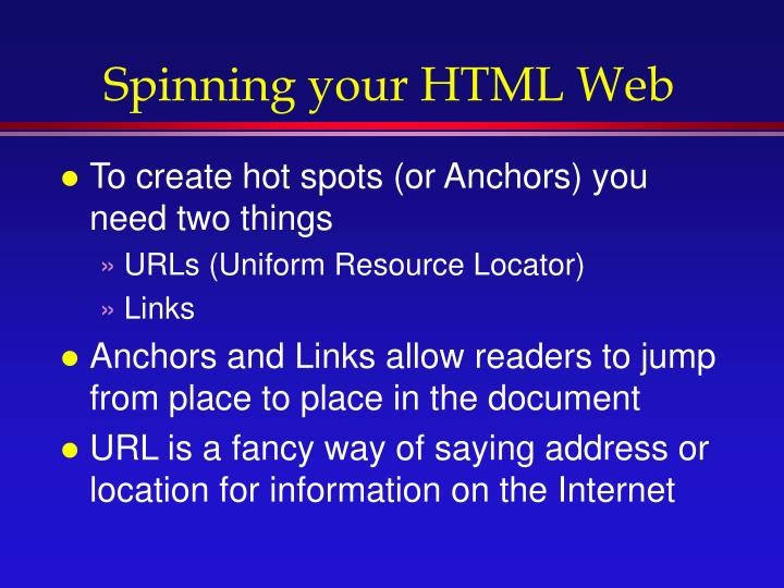 Spinning your HTML Web