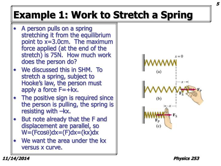 Example 1: Work to Stretch a Spring