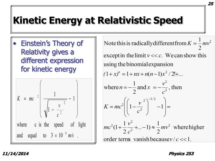 Kinetic Energy at Relativistic Speed