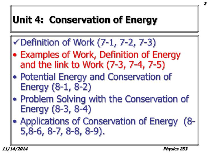 Unit 4:  Conservation of Energy