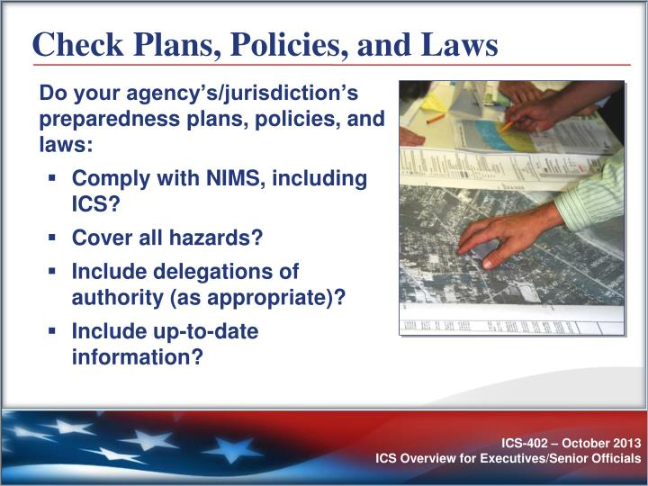 Check Plans, Policies, and Laws