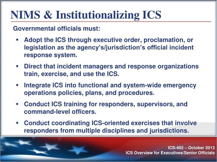 NIMS & Institutionalizing ICS