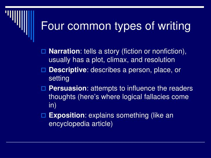 Four common types of writing