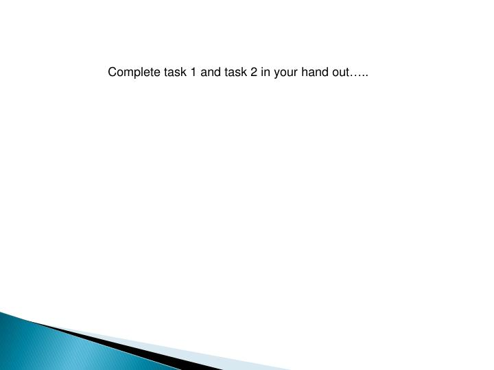 Complete task 1 and task 2 in your hand out…..