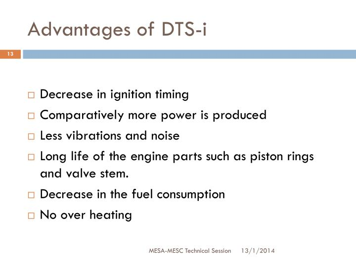 Advantages of DTS-i