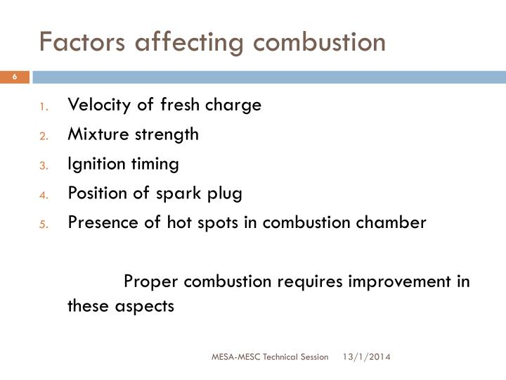 Factors affecting combustion