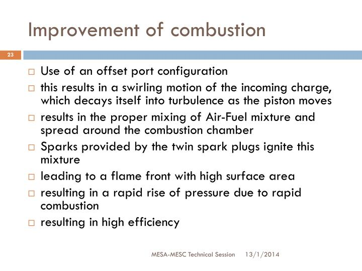 Improvement of combustion