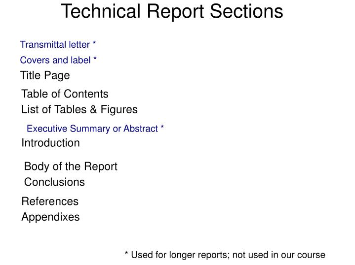 Technical Report Sections