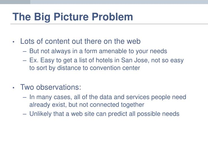 The big picture problem