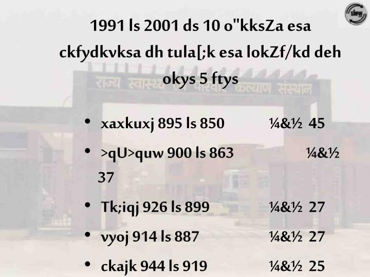 """1991 ls 2001 ds 10 o""""kksZa esa"""