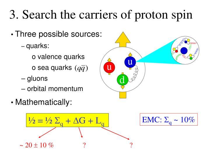 3. Search the carriers of proton spin