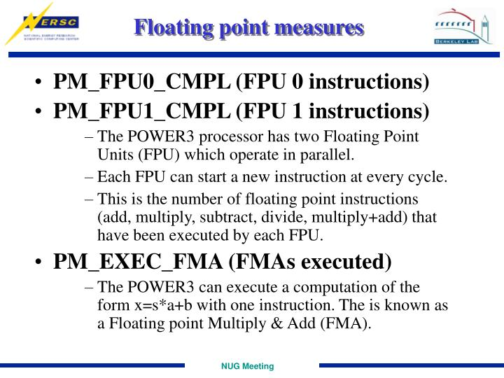Floating point measures