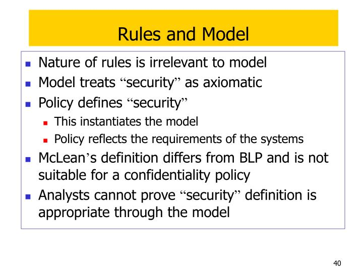 Rules and Model