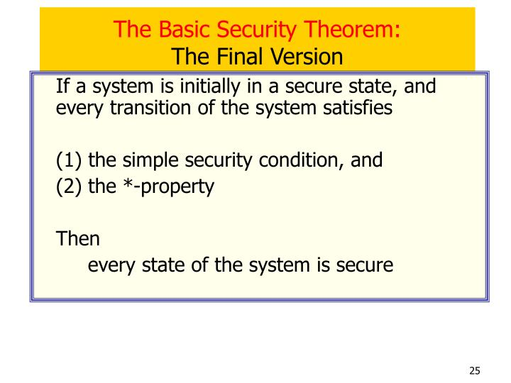 The Basic Security Theorem: