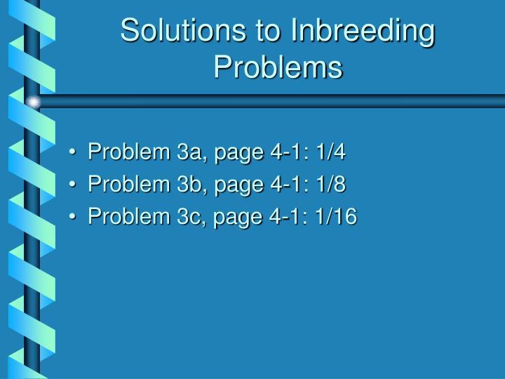 Solutions to Inbreeding Problems