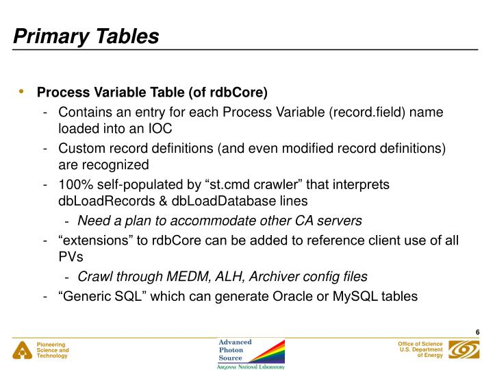 Primary Tables