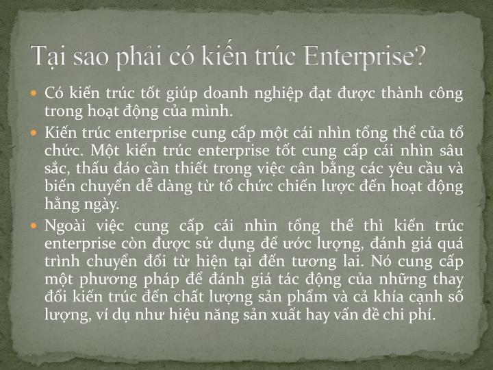 Tại sao phải có kiến trúc Enterprise?