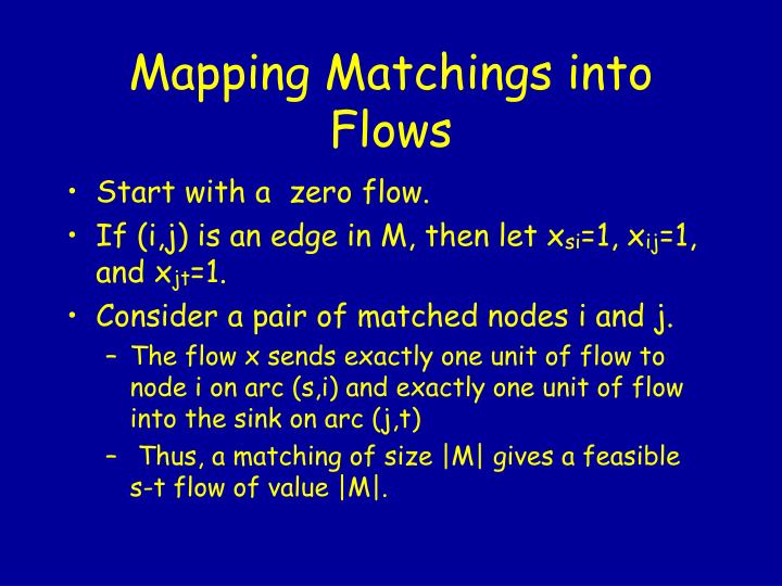 Mapping Matchings into Flows