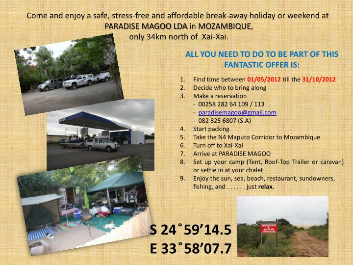Come and enjoy a safe, stress-free and affordable break-away holiday or weekend at