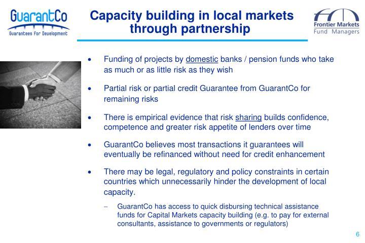 Capacity building in local markets