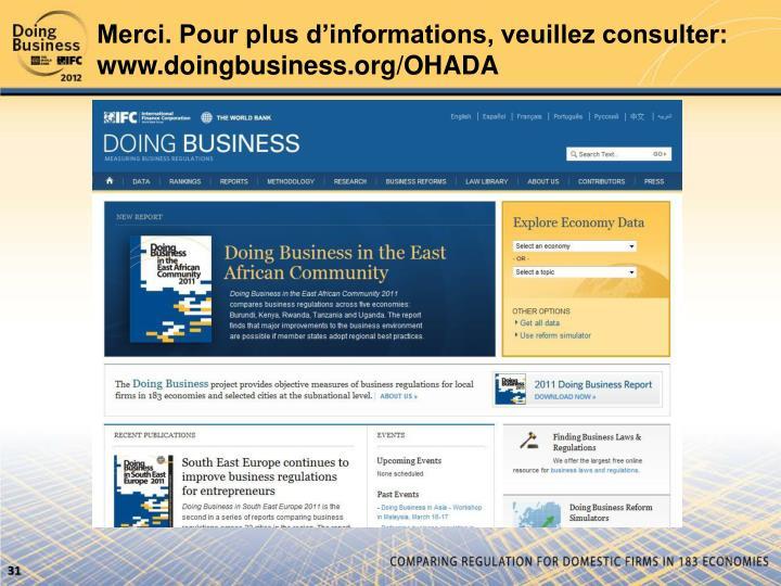 Merci. Pour plus d'informations, veuillez consulter: www.doingbusiness.org/OHADA