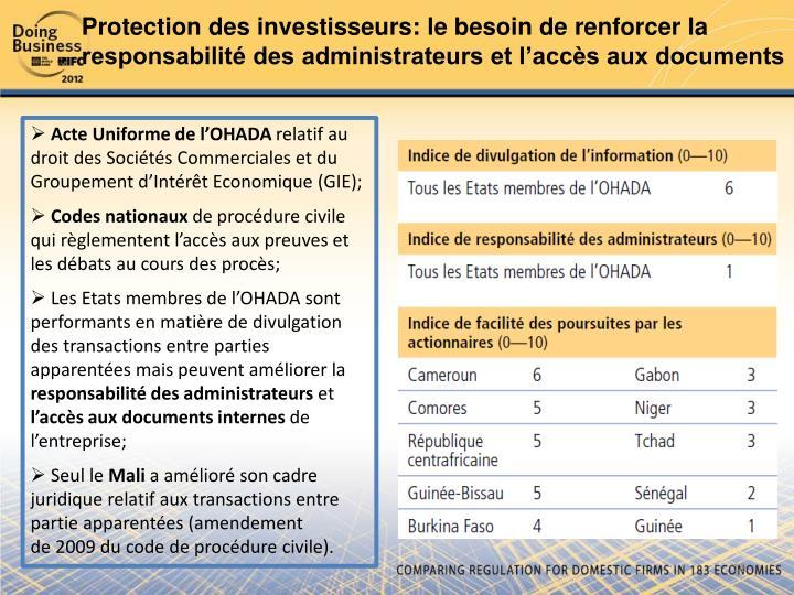 Protection des investisseurs: le besoin de renforcer la responsabilité des administrateurs et l'accès aux documents