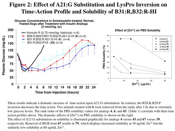 Figure 2: Effect of A21:G Substitution and LysPro Inversion on