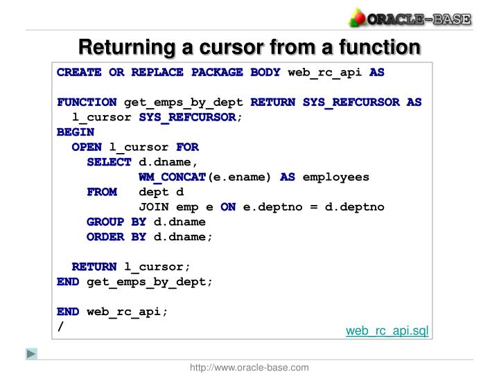 Returning a cursor from a function