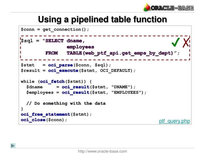 Using a pipelined table function