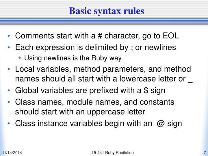 Basic syntax rules