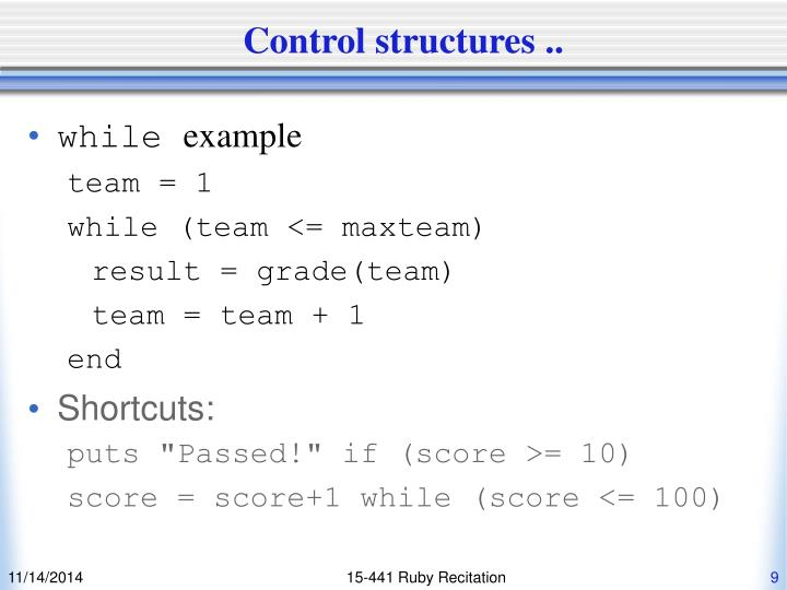 Control structures ..
