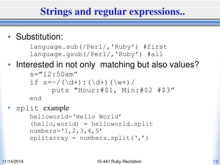 Strings and regular expressions..