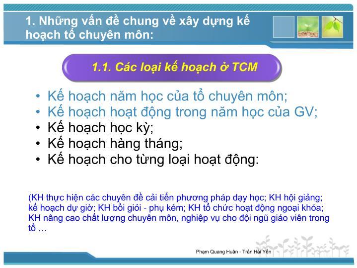 1.1. Các loại kế hoạch ở TCM