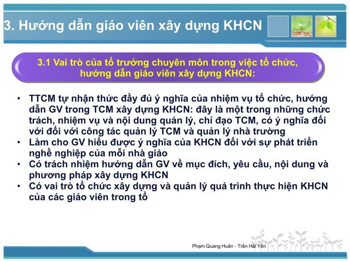 3.1 Vai trò của tổ trưởng chuyên môn trong việc tổ chức, hướng dẫn giáo viên xây dựng KHCN: